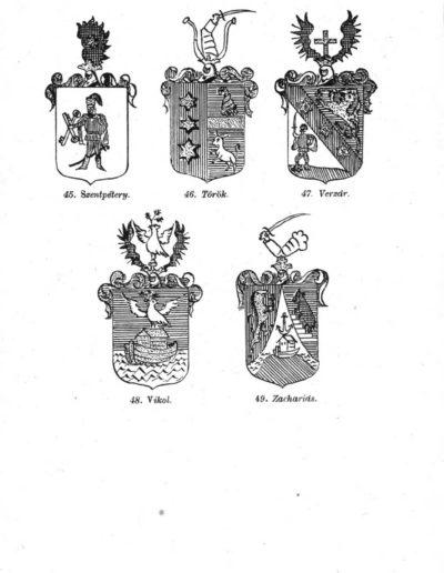 A könyvben tárgyalt családok címerei